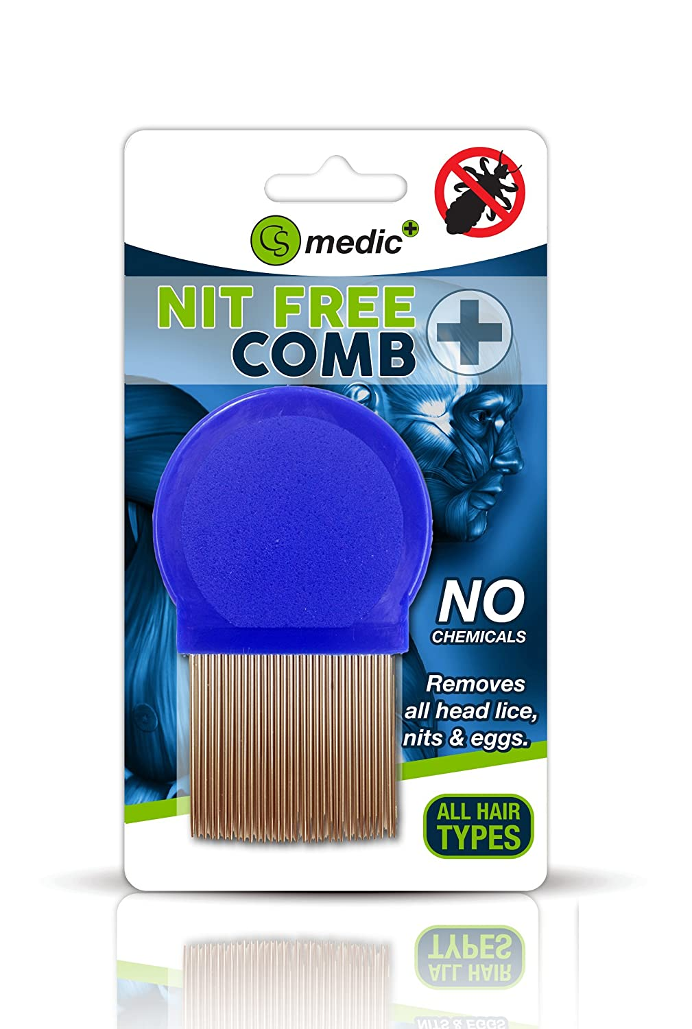 CS Medic - Standard Quality Metal Round Lice Nit Louse Detection Removal Comb Regular Use County S2066