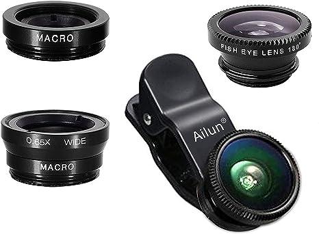 Fisheye I-Sonite Silver Mobile Phone Universal Camera Lens 3 in 1 Kit Wide Angle Macro Lens For Motorola Moto G6 Play