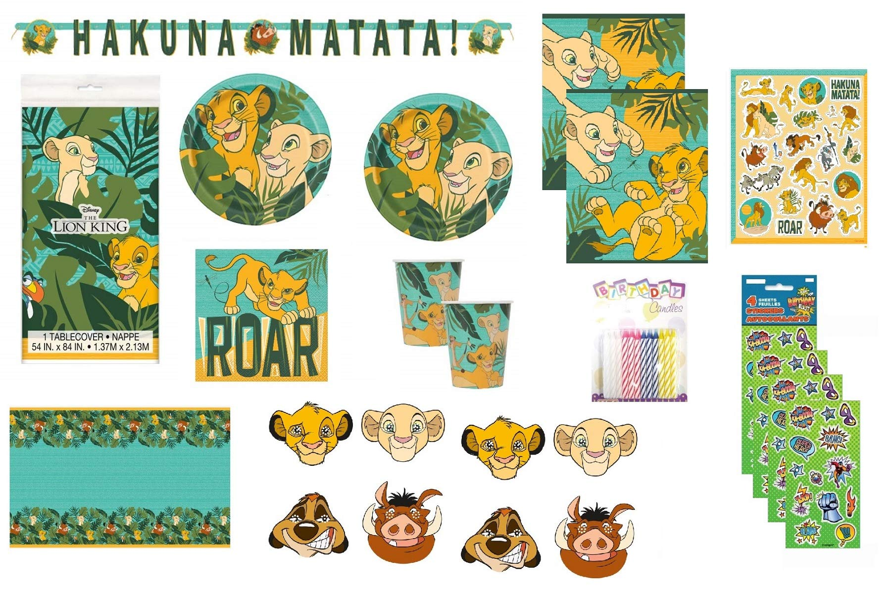 The Lion King Party Supply Bundle for 16 includes Plates, Napkins, Cups, Table Cover, Banner, Loot Bags, Masks, Stickers, Candles