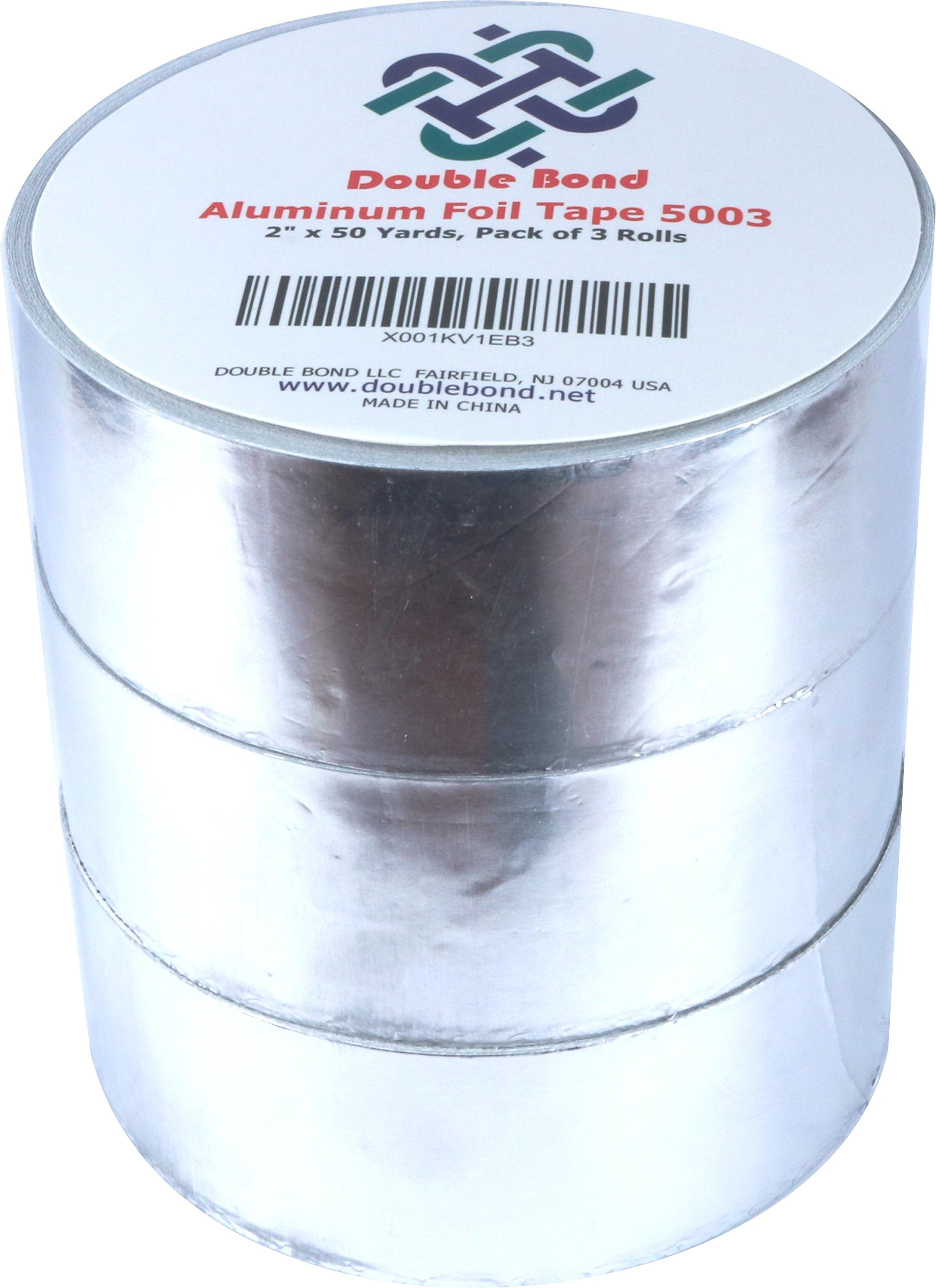 Double Bond Aluminum Foil Tape, Silver, 1.88 in x 50 yd 2.7 mil. Aluminum HVAC Tape, Duct Tape for Ducts, Foil Insulation, and Repair. Pack of 3 Rolls Aluminum Tape
