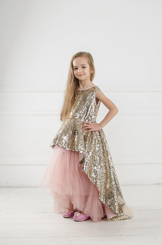 601fc8161a Amazon.com: Princess sequin tutu dress Flower girl sequin dress with train,  princess dress, girls gold sequin dress, birthday dress first communion: ...