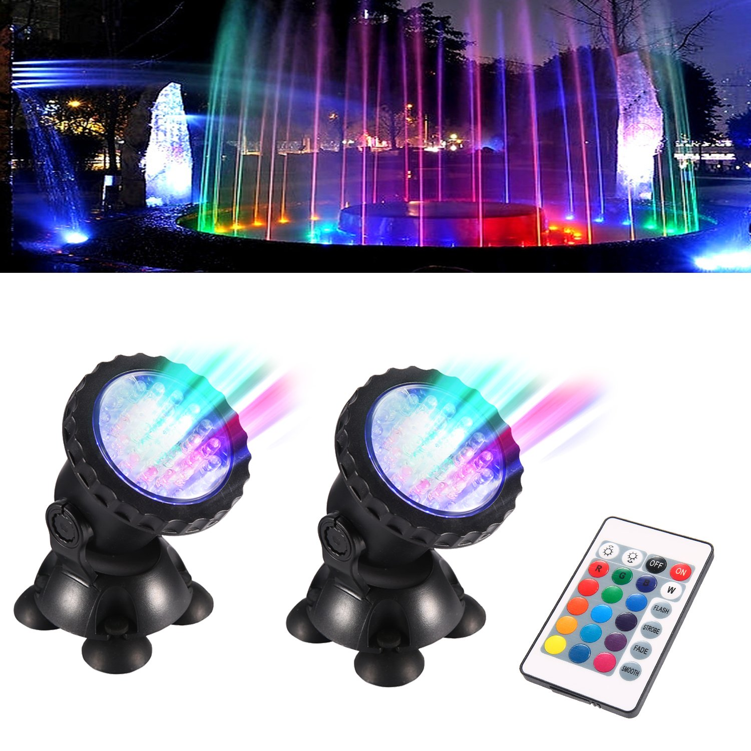 TOPBRY Remote Control Submersible Spotlight Pond lights 36 LED Colorful IP68 Waterproof Aquarium Spotlight Multi-color Decoration Landscape lamp for Fountain Fish Pond Tank Water Garden (Set of 2)