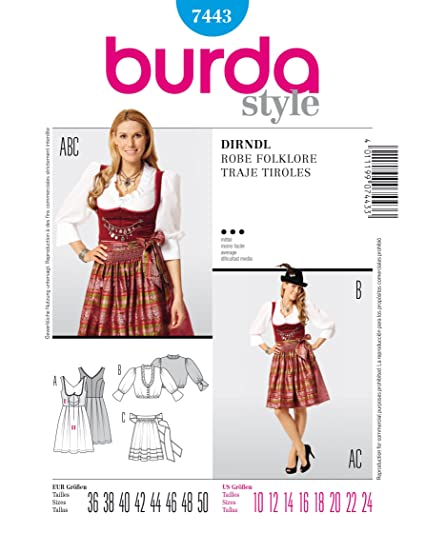 Amazon.com: Burda 7443 Dirndl Robe Folklore Sewing Pattern Traje ...