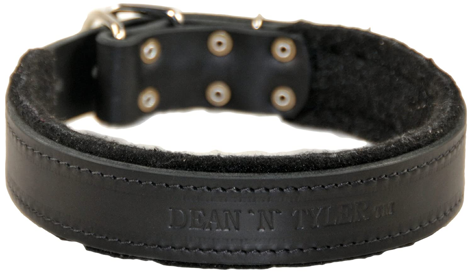 Dean and Tyler DT DELIGHT , Leather Dog Collar with Felt Padding and Strong Hardware Black Size 38-Inch by 2-Inch Fits Neck 36-Inch to 40-Inch