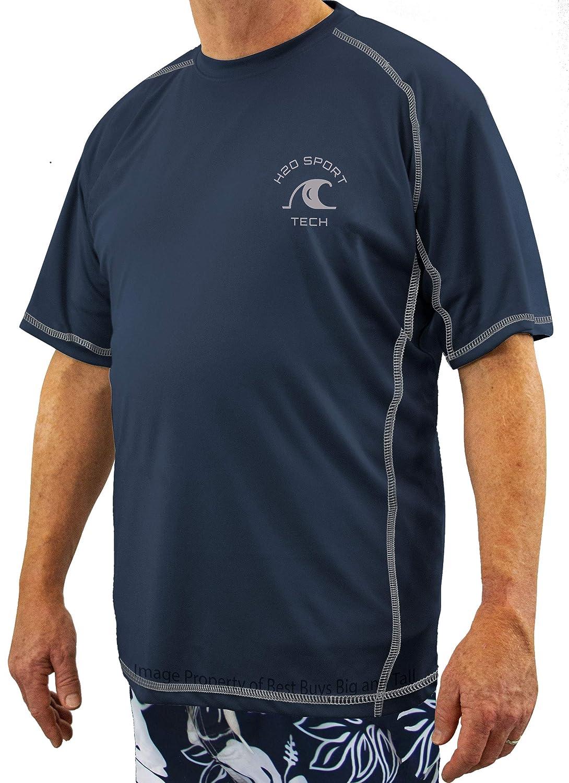 H2O Sport Tech Big /& Tall Men/'s Short Sleeve Raglan Swim Shirt Loose Fit
