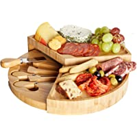 VonShef 3 Layer Tiered Cheese Board Server Plate and 3 Piece Stainless Steel Cheese Knife Serving Utensil Set, Wooden…