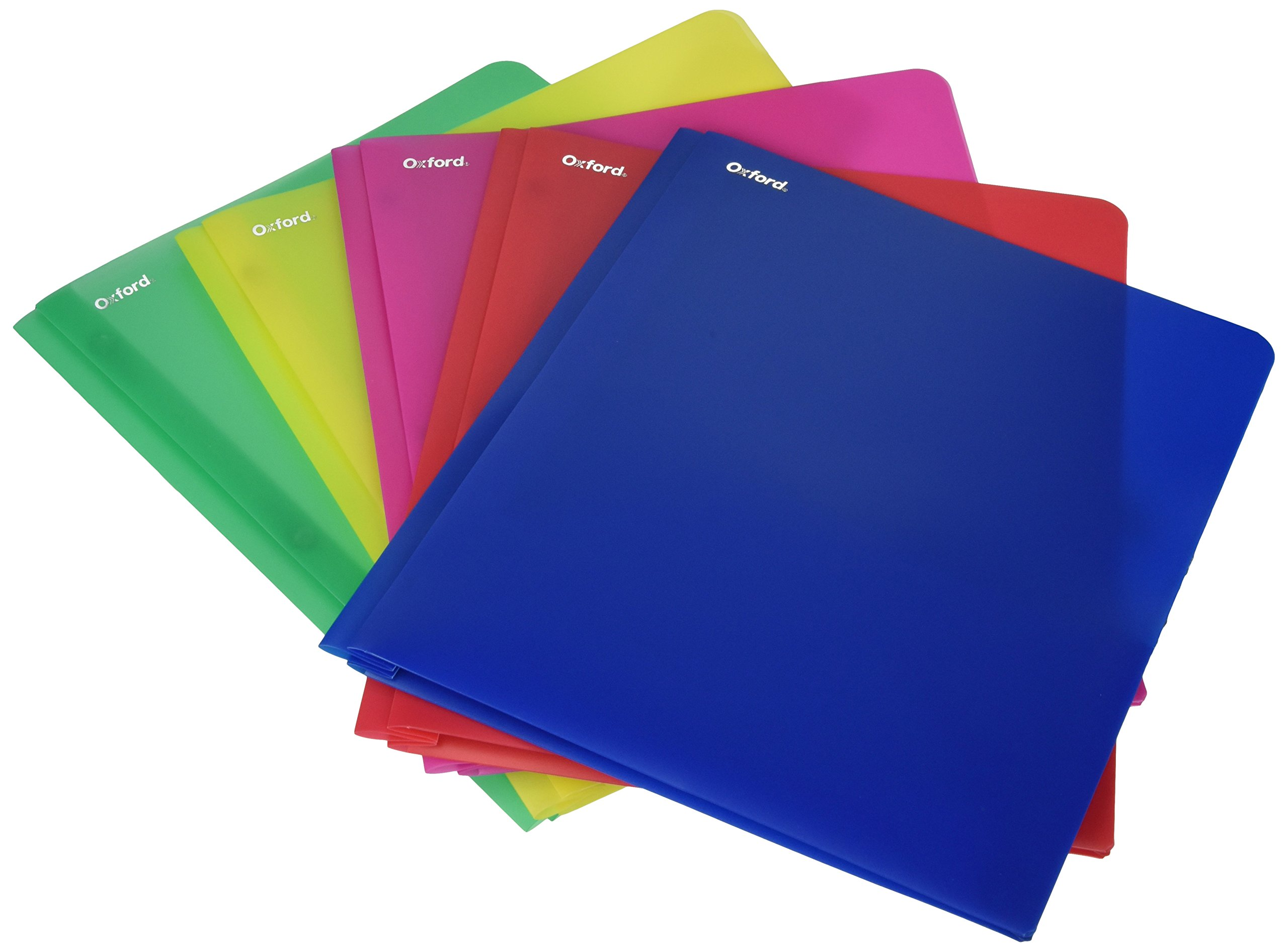 Oxford 99811 Translucent Twin-Pocket Poly Portfolios, 8-1/2 x 11, Assorted Colors, 25 folder