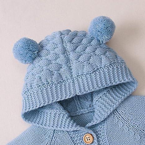 SH-RuiDu Mono de punto para reci/én nacido con sombrero a juego para beb/és de 0 a 18 meses