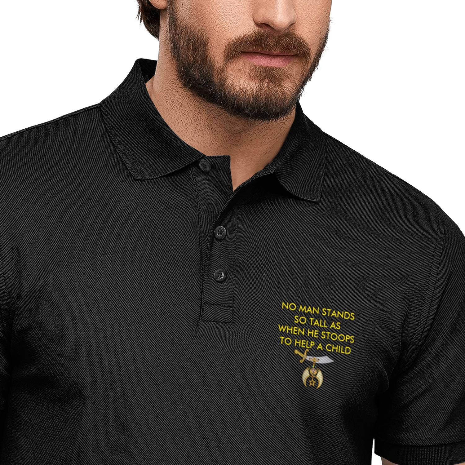 FPPING No Man Stands So Tall As When He Stoops to Help A Child Printed Mens Party Polo Shirt Slim Fit Tee