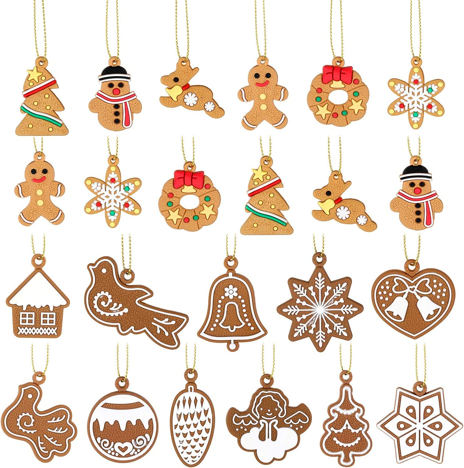WILLBOND 23 Pieces Christmas Tree Hanging Mini Ornaments Gingerbread House Snowflake Snowman Reindeer Xmas Hanging Pendant Ornaments for Christmas Festival Decorations, 17 Styles