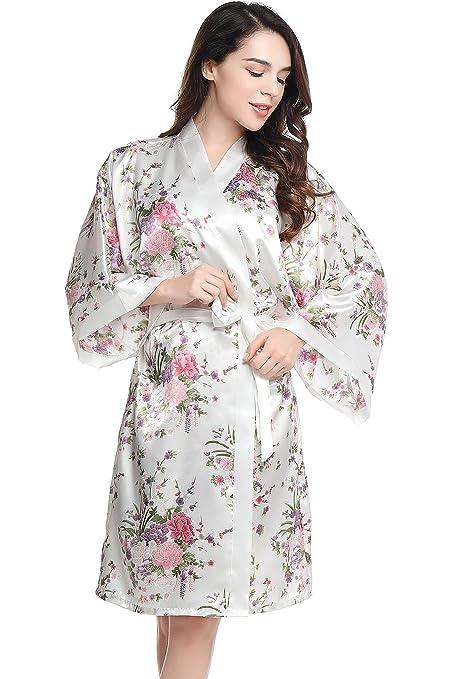 ArtiDeco Kimono Floral Bata Novia Kimono de Seda los Años 20 Ropa de Dormir Despedida de Soletera Túnica Larga 37