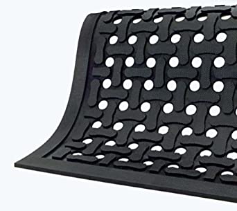 Comfort Flow Black Rubber Commercial Kitchen Drainage Mat, Anti-Fatigue,  Slip and Grease/Oil Resistant 3\' Length x 2\' Width, by M+A Matting