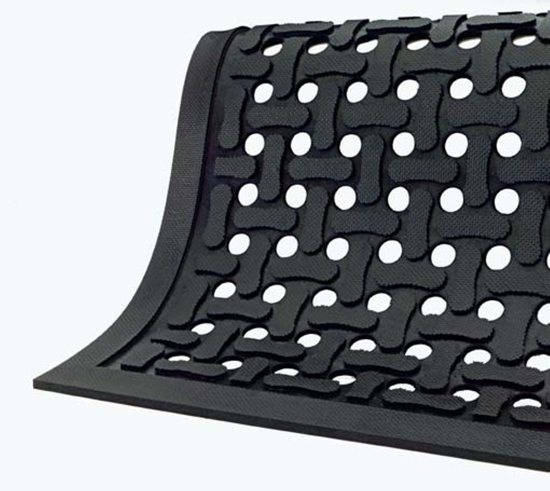 Comfort Flow Black Rubber Commercial Kitchen Drainage Mat, Anti-Fatigue, Slip and Grease/Oil Resistant 3' Length x 2' Width, by M+A Matting