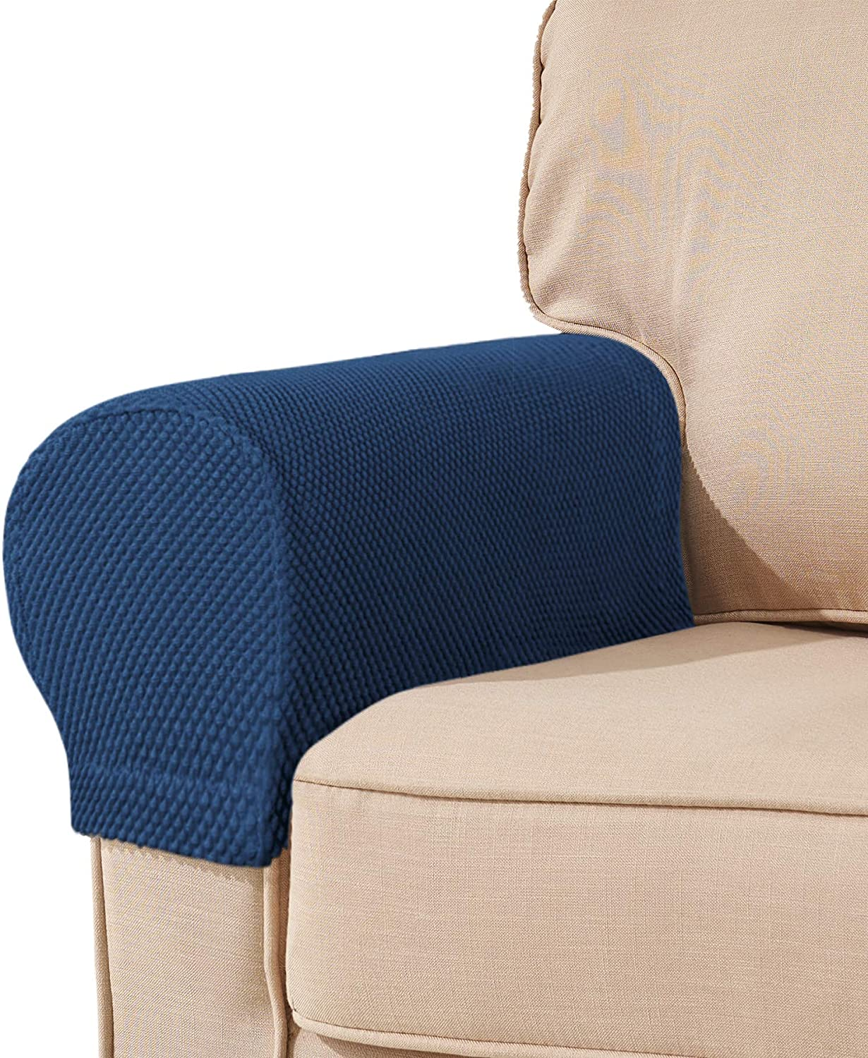 subrtex Spandex Stretch Fabric Armrest Covers Anti-Slip Furniture Protector Armchair Slipcovers for Recliner Sofa Set of 2 (Navy)