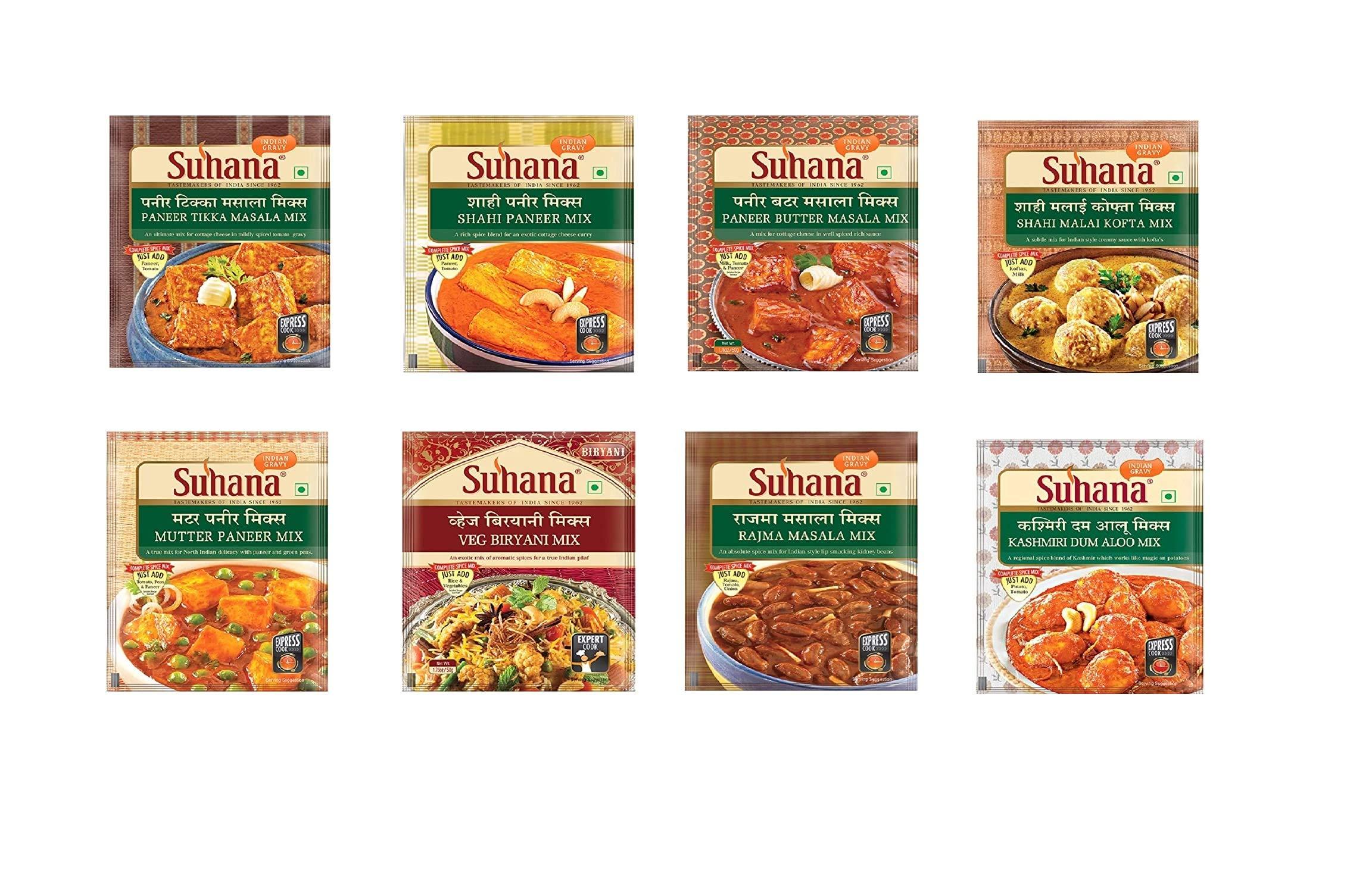 Suhana Veg Spice Mixes - Paneer Butter, Veg Biryani, Paneer Tikka, Shahi Paneer, Kashmiri Dum Aloo, Rajma Masala, Mutter Paneer, Shahi Malai Kofta -Combo of 8