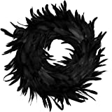 """JOYIN Natural Feathers Wreath 13.75"""" in Black for Halloween Decorations, Spooky Scene Party Favors, Halloween Photo…"""