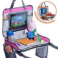 Premium Kids Travel Tray - 4 in 1 Car & Plane Seat Tray, Storage and Car Toy Organizer, Carry Bag and Tablet Holder and Snack Tray All in One - Brand New Listing - by Nimble Forrest (Bubblegum Pink)