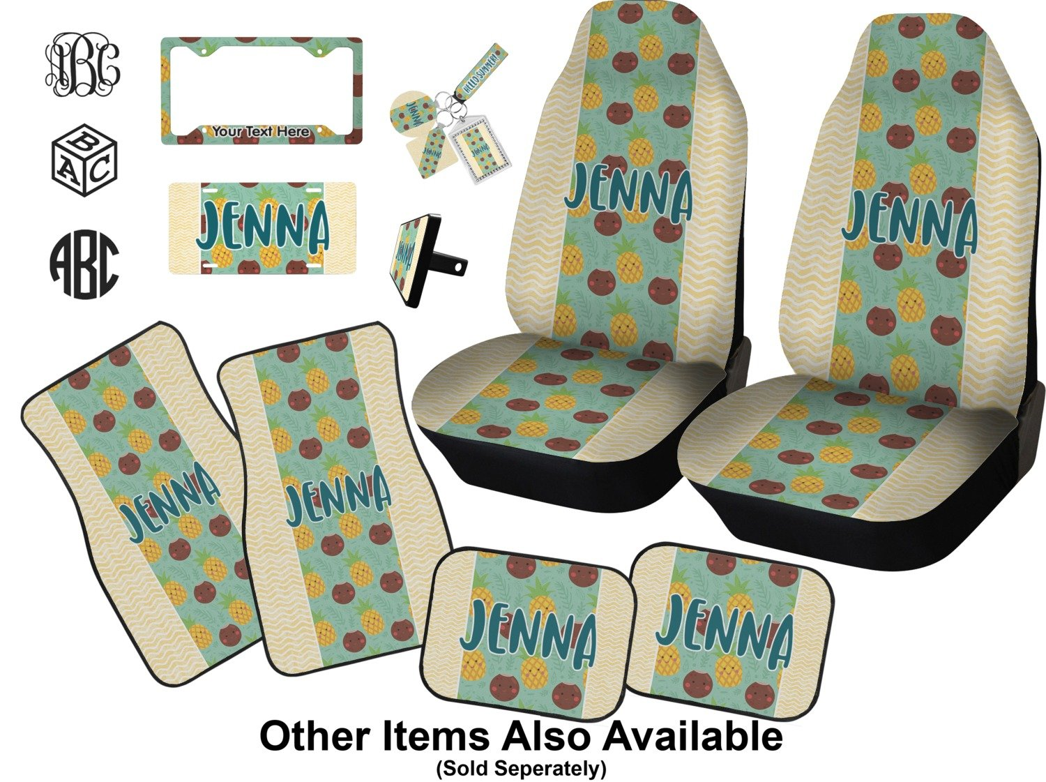Piña y Coco Seat Belt Covers (Set de 2) (personalizado): Amazon.es: Coche y moto