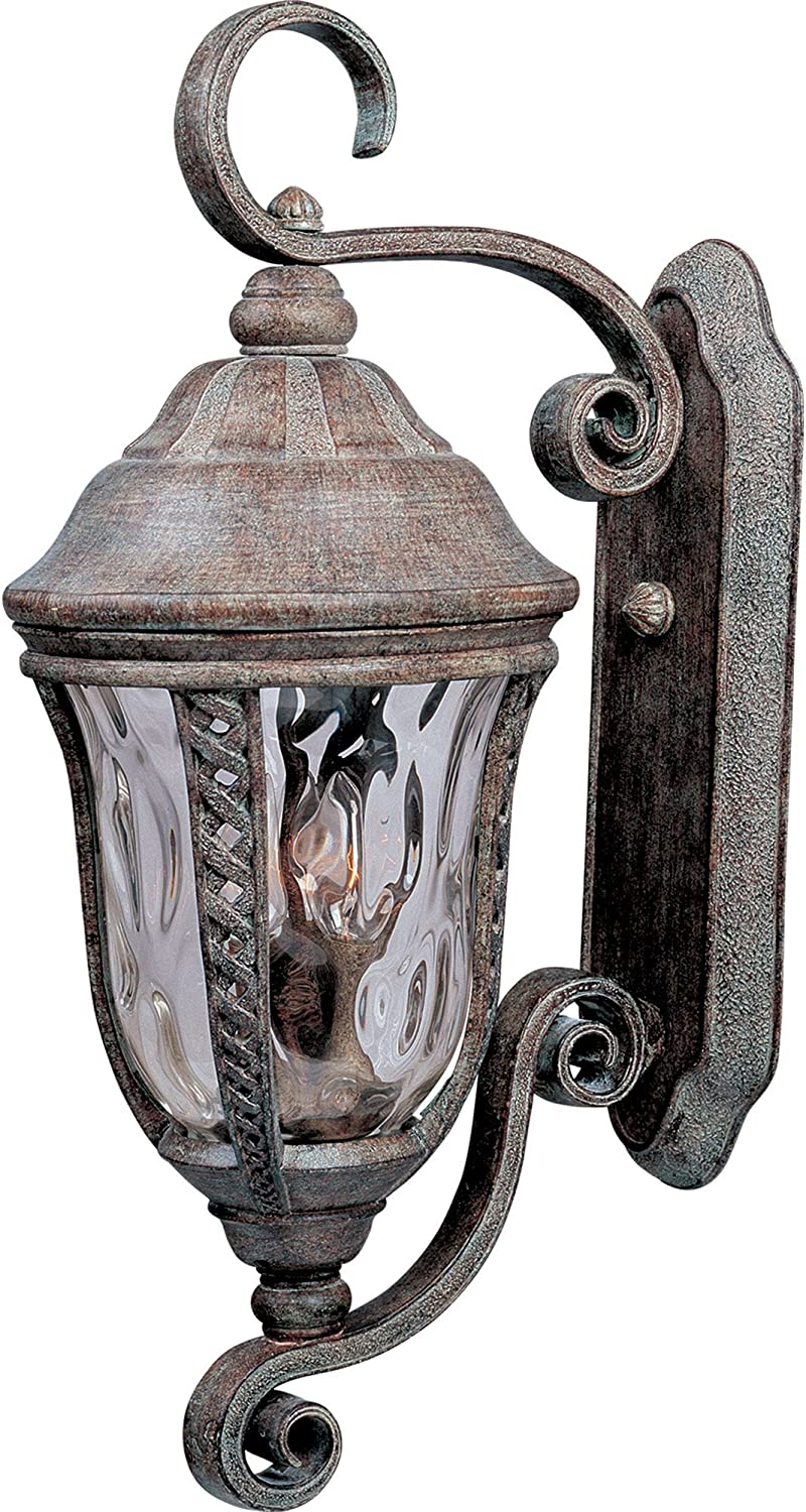 B0013NU9NG Maxim 3108WGET Whittier Cast 3-Light Outdoor Wall Lantern, Earth Tone Finish, Water Glass Glass, CA Incandescent Incandescent Bulb , 2.5W Max., Dry Safety Rating, 3000K Color Temp, Standard Triac/Lutron or Leviton Dimmable, Frosted Acrylic Shad