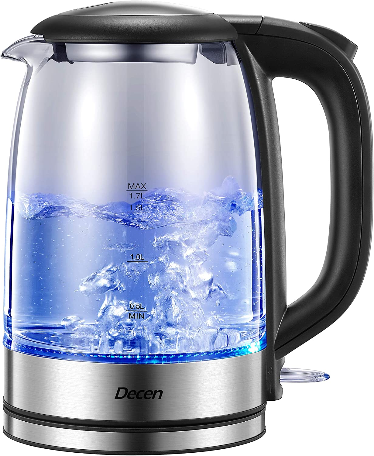 Electric Kettle, Decen 1500W Glass Electric Tea Kettle with Speedboil Tech, 1.7L (8 Cups) Water Kettle with LED Light, Auto Shut-Off And Boil-Dry Protection, Stainless Steel Lid & Bottom