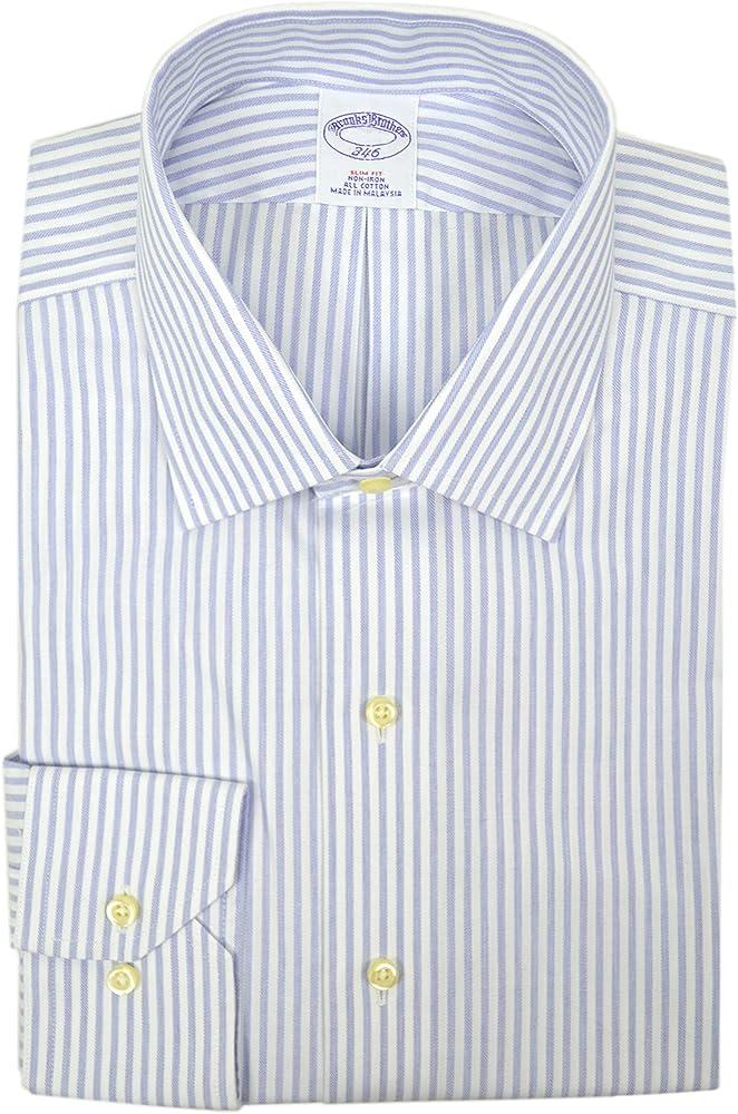 Brooks Brothers camisa de vestir para hombre, ajustada, no necesita planchado, 100% algodón, diseño de rayas, color azul y blanco - Azul - 42 cm Cuello 91 cm/ 94 cm Manga: Amazon.es: Ropa y accesorios