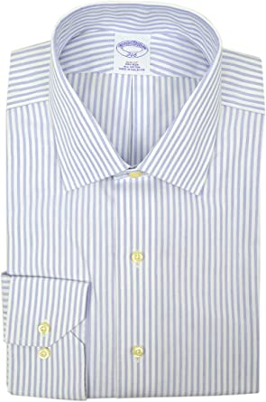 BROOKS BROTHERS Camisa de Vestir para Hombre, Ajustada, no Necesita Planchado, 100% algodón, diseño de Rayas, Color Azul y Blanco