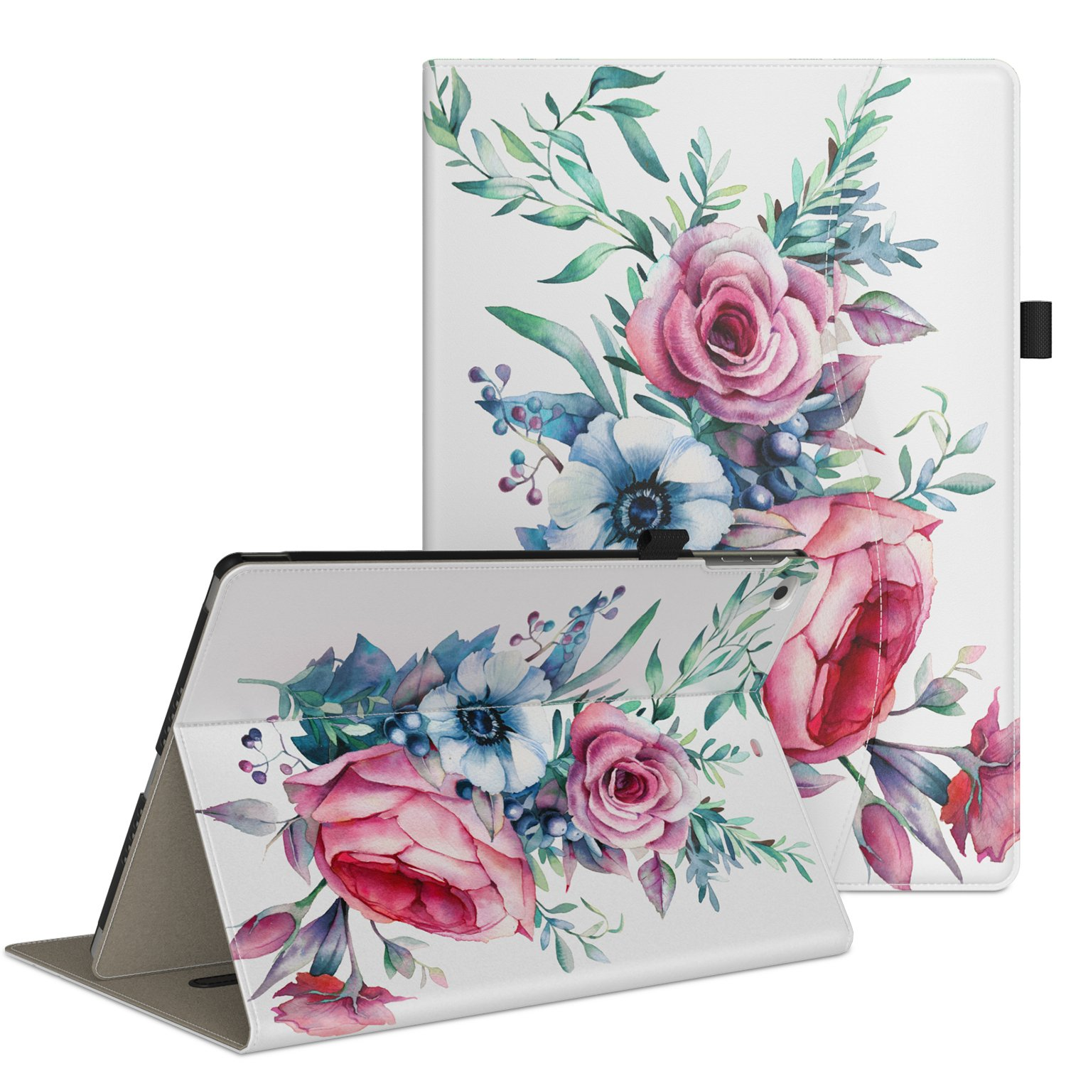 VORI Case for New iPad 9.7 Inch 2018 2017 / iPad Air 2 / iPad Air ,Premium Leather Business Multi-Angle Viewing Folio Stand Cover with Card Slots, Auto Wake / Sleep-Peony