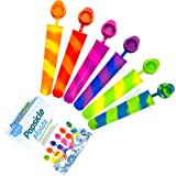 Silicone Ice Pop Molds with attached Lids,Colored Rainbow Swirl Popsicle Maker Molds,6 Vibrant Colors,Set of 6,by HITFUN