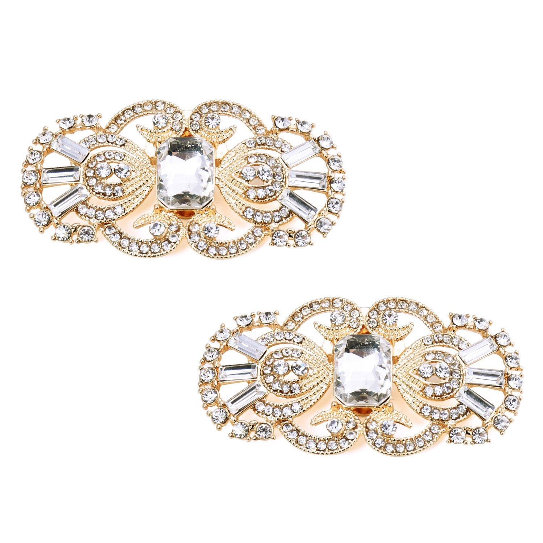 ElegantPark BG 2 Pcs Shoe Clips Antique Mask Design Rhinestones Wedding Party Decoration Gold