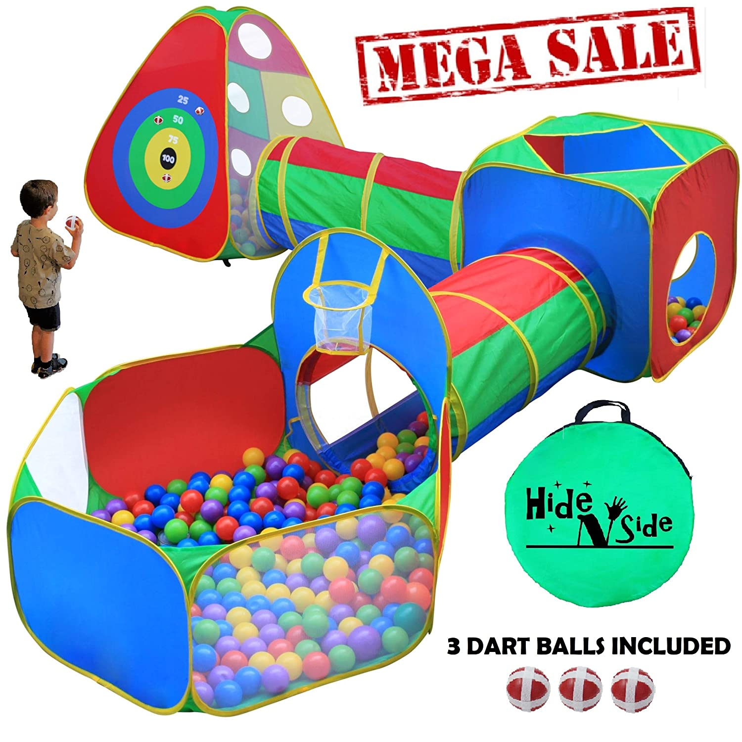 5pc Kids Ball Pit Tents and Tunnels, Toddler Jungle Gym Play Tent with Play Crawl Tunnel Toy , for Boys babies infants Children, w/ Basketball Hoop, Indoor & Outdoor, Dart Wall Game w/ 3 Dart Balls Hide-n-Side