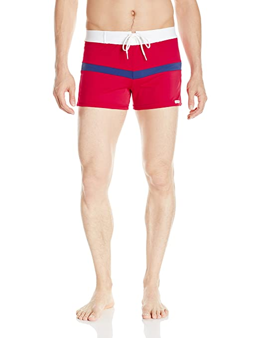Vintage Men's Swimsuits – 1930s to 1970s History Sauvage Mens Sports Color Spliced Swim Trunk $72.00 AT vintagedancer.com