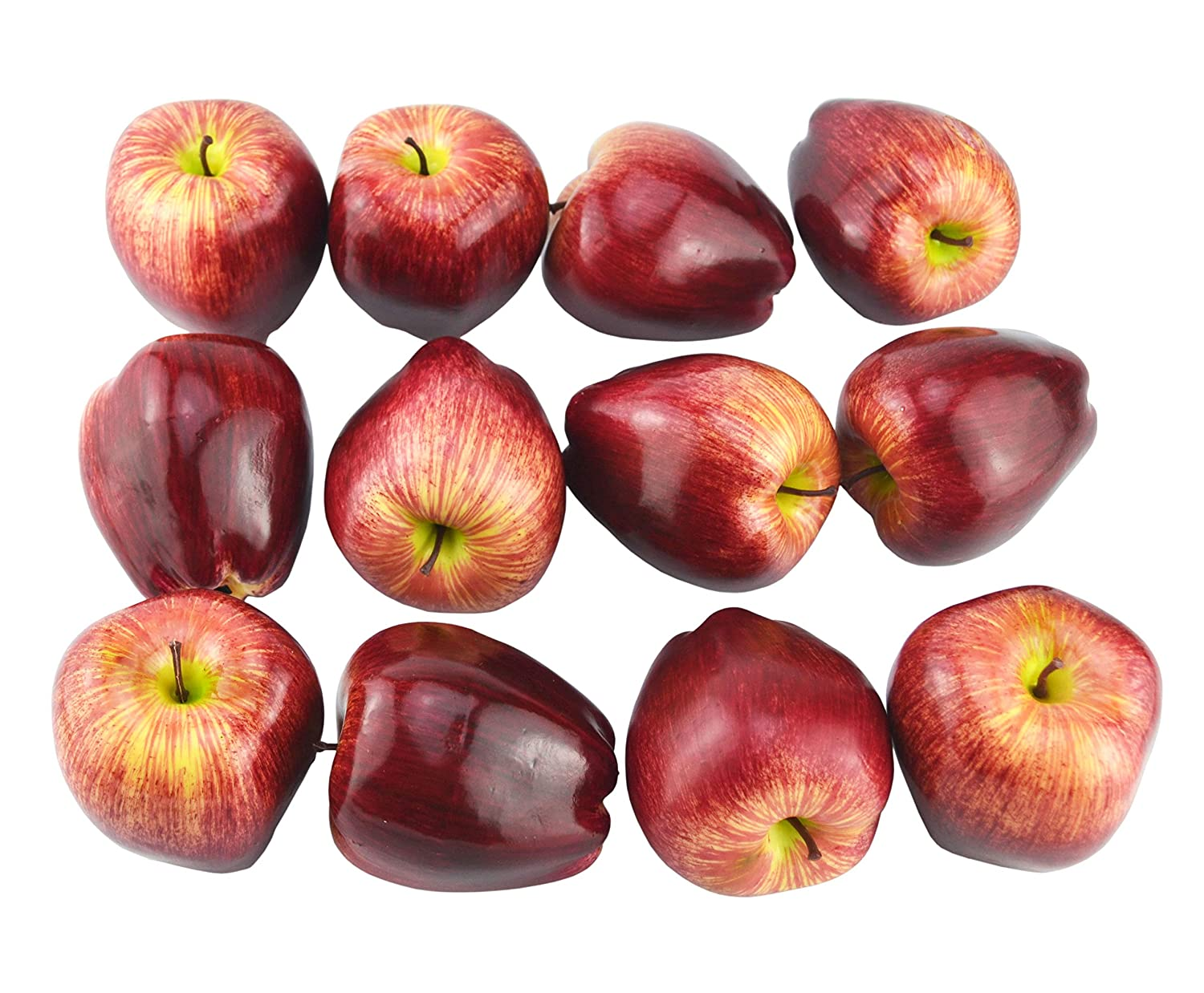 JEDFORE Artificial Lifelike Fake Dark Red Apple Simulation Red Delicious Apples Set Fake Fruit for Home House Kitchen Wedding Party Decoration Photography - Set of 12