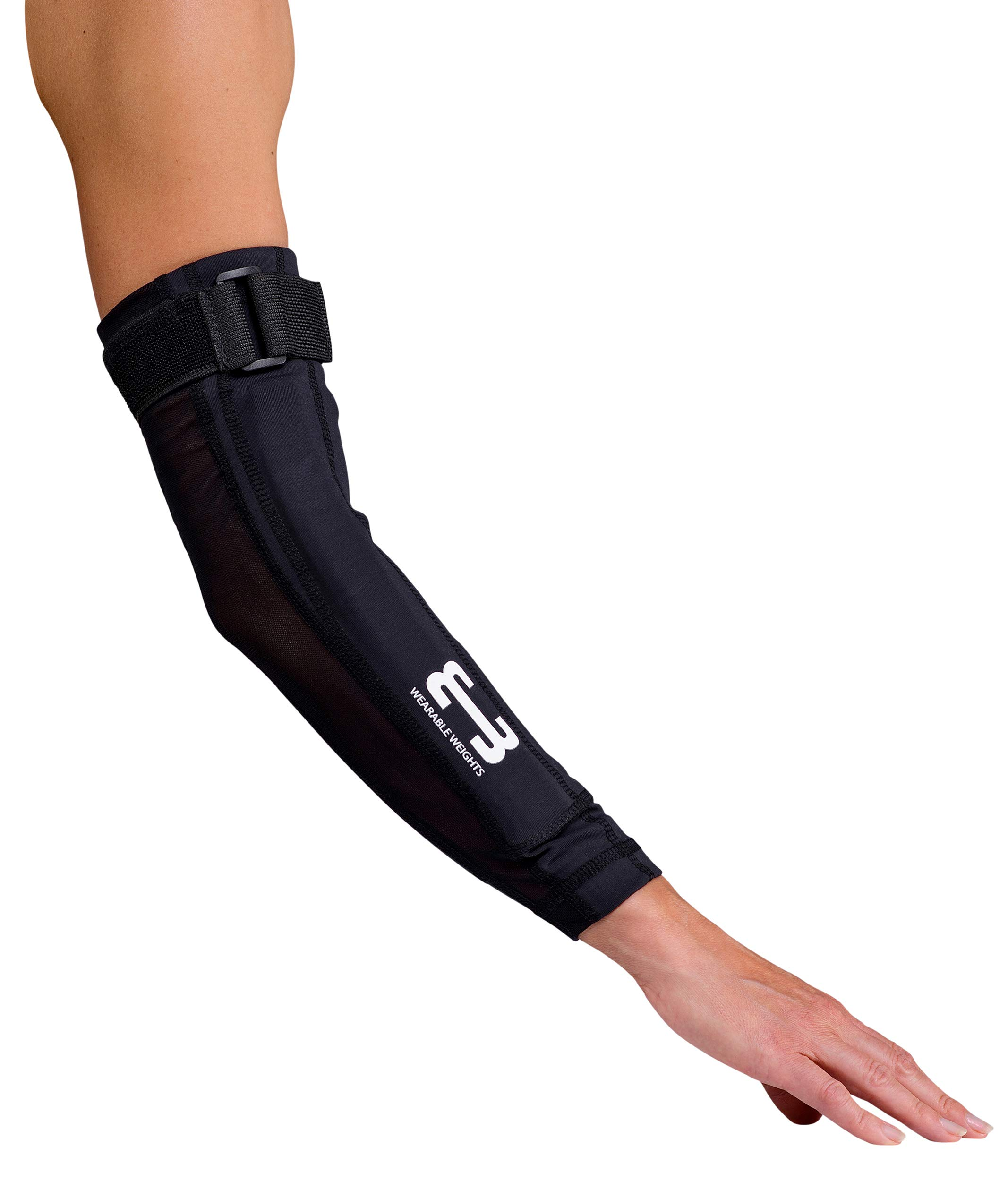 Wearable Weights Weighted Black Workout Compression Arm Sleeves (XL, 1.5lbs Each)