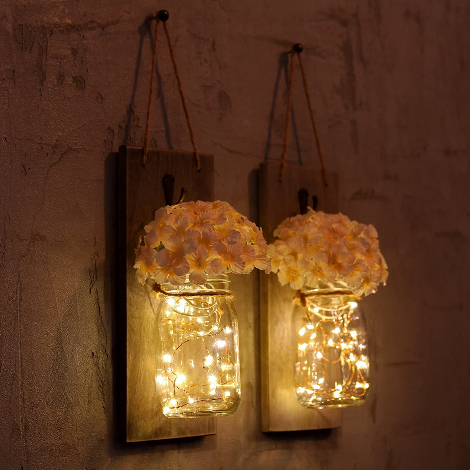 Wall sconces amazon lighting ceiling fans wall lights hanging mason jar sconces with led fairy lights wrought iron hooks silk hydrangea candleflower and led strip lights design for home decoration set of 2 amipublicfo Image collections
