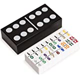 Double 12 Dominoes Game Set with Numerals in Black Lacquer Case