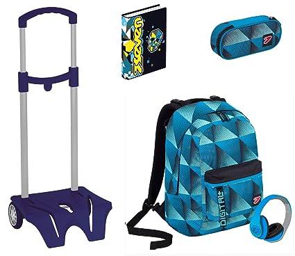 Kit escolar mochila + carro + lápices + diario Seven–