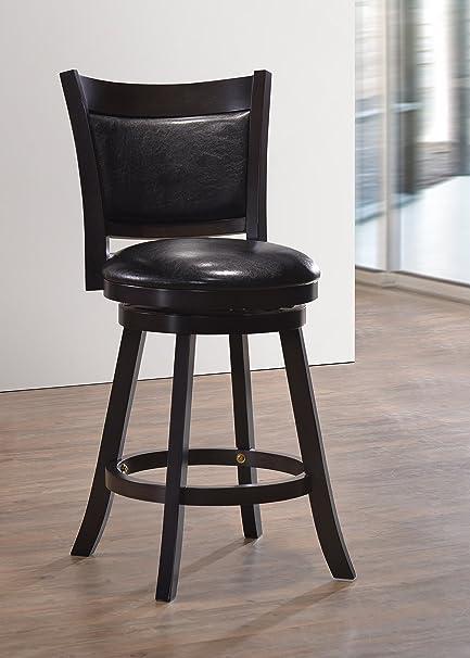 Amazoncom Set Of 2 Cappuccino Finish Black Swivel Seat Stool 24