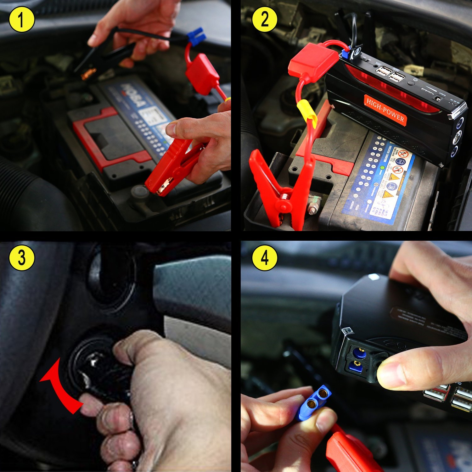 Cargador Power Bank para Coche Kit de Arranque para coche con USB Laptop Moto YOKKAO Arrancador de Emergencia para coche 16800mAh 600 Luz LED Smartphone etc. Jump Starter Bater/ía Port/átil de Emergencia para coche