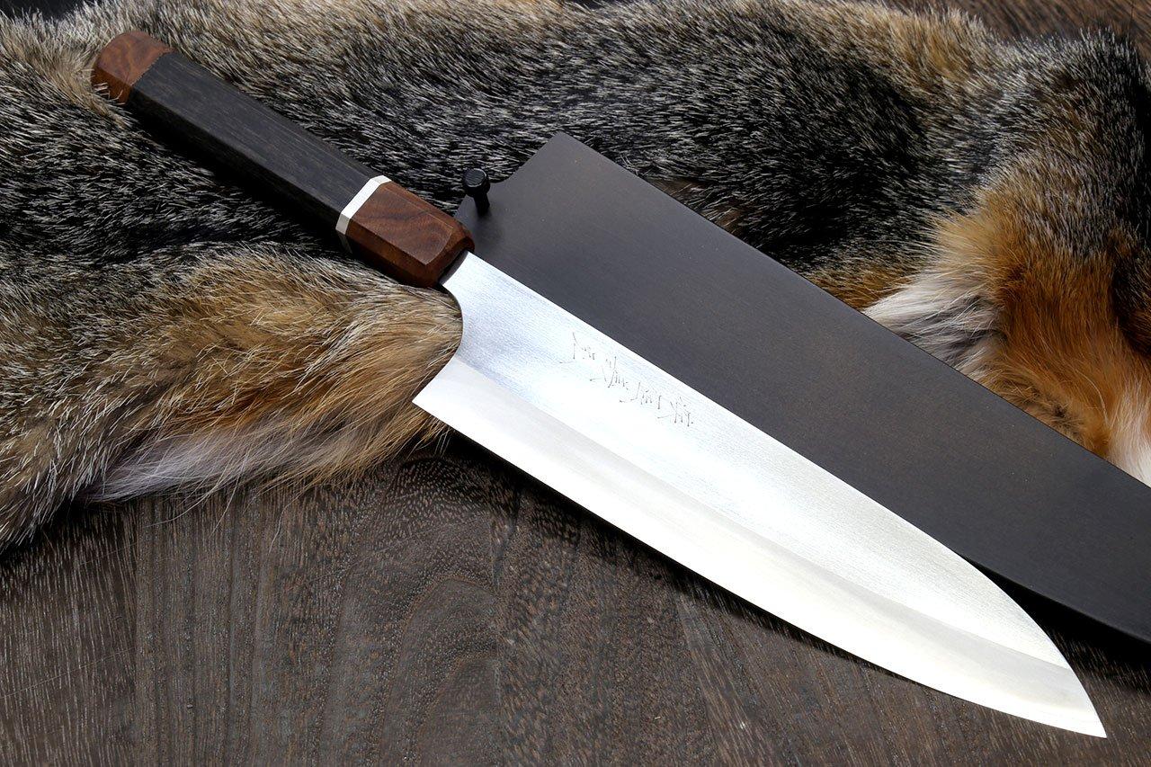 Yoshihiro Hayate ZDP-189 Super High Carbon Stainless Steel Gyuto 9.5'' Chefs Knife Premium Ebony Handle with Sterling Silver Ring Nuri Saya Cover