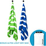 """Microfiber Beach Towel & Dry Bag   Perfect for Travel, Quick Dry, Compact & Lightweight yet Extra Large, Sand Free, Absorbent   also best for Swim, Pool, Camping, Outdoors, Boat, Gym, Yoga (70x31"""")"""