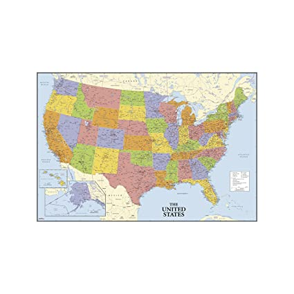 Amazoncom RoomMates USA Map Dry Erase Peel and Stick Giant Wall