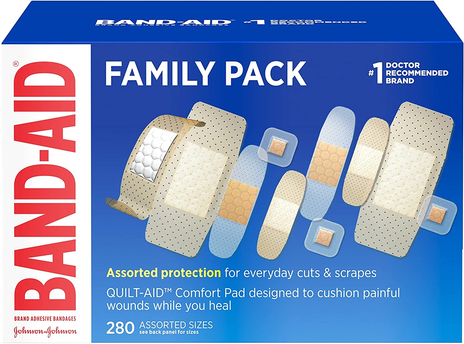 Band-Aid Brand Adhesive Bandage Family Variety Pack, Sheer and Clear Bandages, Assorted Sizes, 280 ct: Health & Personal Care