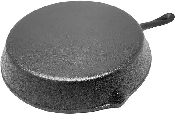 Big BBQ – Sartén de hierro fundido (redonda, mango largo, diámetro ...