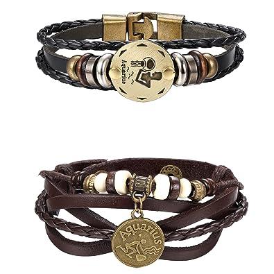 25b961a199d2e LOYALLOOK Punk Alloy Leather Bracelet for Men Constellation Braided Rope  Bracelet Bangle Wristband Zodiac Sign Charm