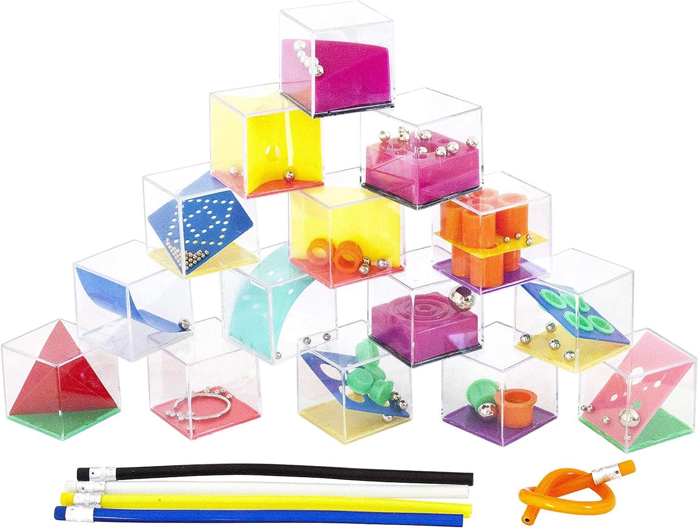 Funny YAS Lote 30 Juegos de Habilidad + 30 Lápices de Colores Flexibles. Regalo Original para Invitados Cumpleaños,Bodas,Bautizos y Comuniones. Detalle Divertido Infantil y para Adultos.
