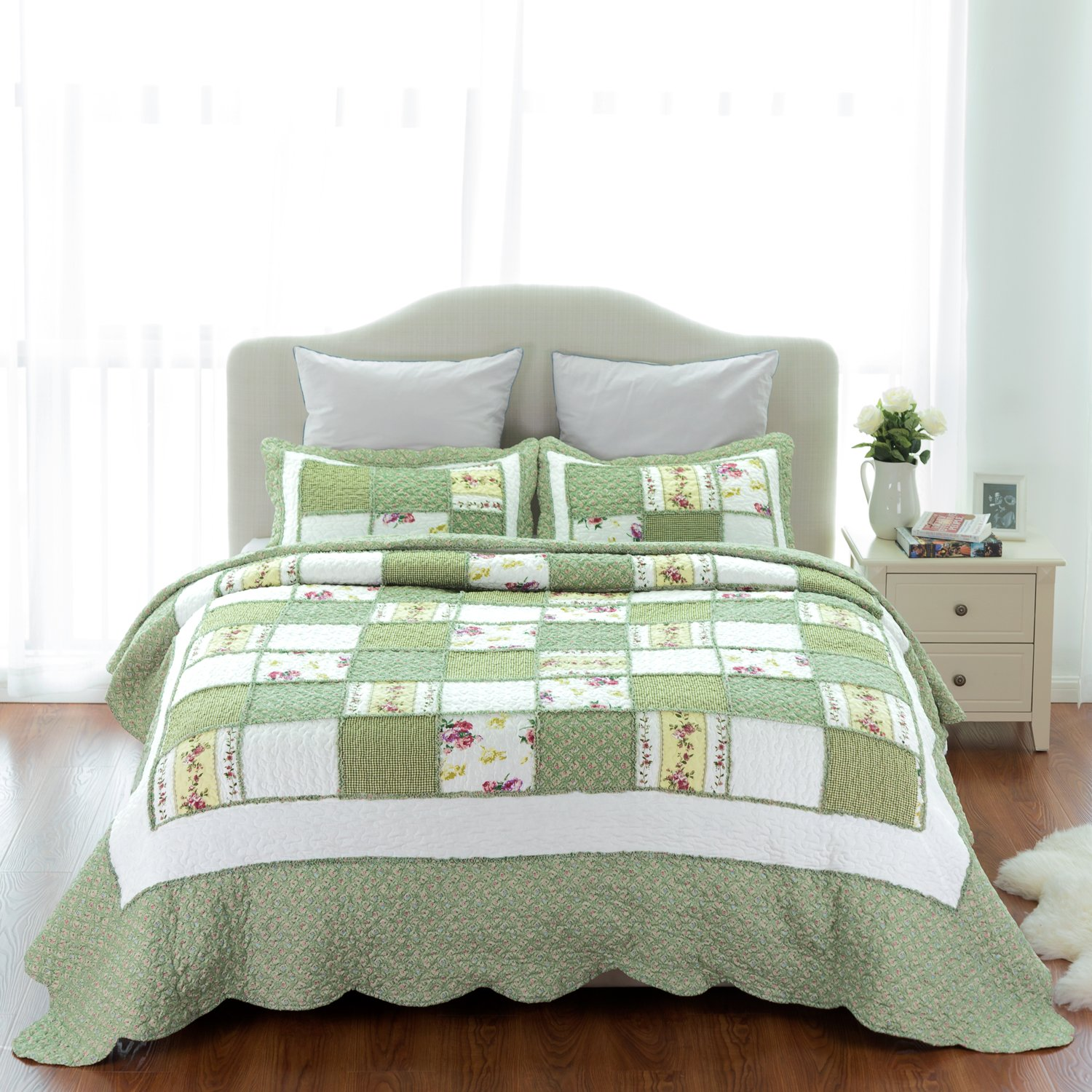Printed Quilt Coverlet Set Bedspread King Green