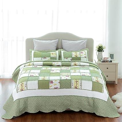 lightweight king bedspread cal king bedsure printed quilt coverlet set bedspread twin68quotx86quot green ruffle lightweight amazoncom twin68