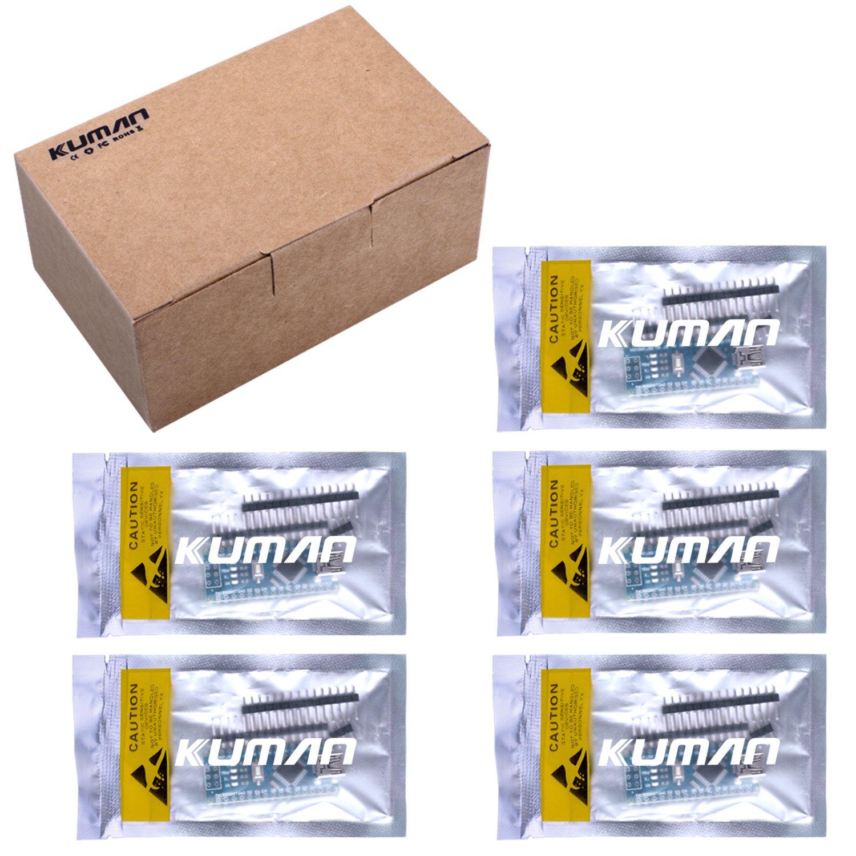 Kuman 5 x Mini Nano V3.0 ATmega328P 5V 16M Micro Modulo di Controllo per Arduino KY64-5