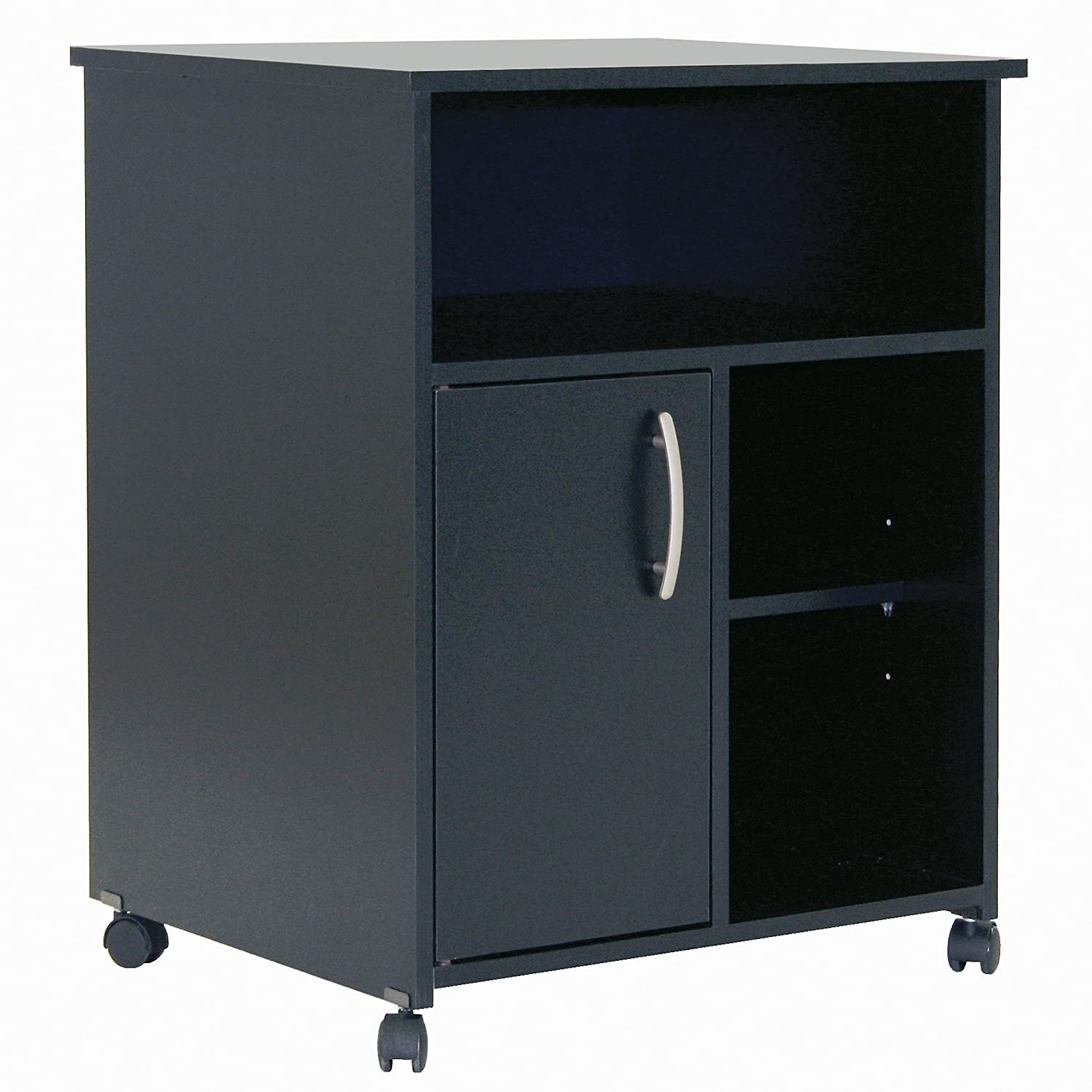 South Shore Fiesta Microwave Cart with Storage on Wheels, Pure Black 7270B1