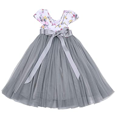 bdd216888507 Flofallzique Toddler Girls Wedding Dress Grey Summer Tulle Tutu Baby Clothes  for 1-12 Y